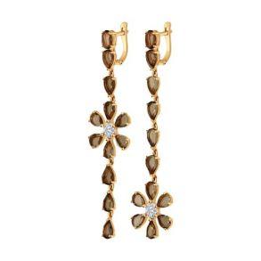 Серьги длинные из золота с раухтопазами и фианитами 724390 SOKOLOV