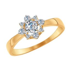 Помолвочное кольцо из золота со Swarovski Zirconia 81010231 SOKOLOV