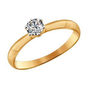 Помолвочное кольцо из золота со Swarovski Zirconia 81010225 SOKOLOV