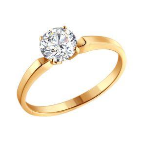 Золотое помолвочное кольцо с камнем Swarovski 81010001 SOKOLOV