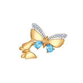 Брошь из золота с голубыми топазами и фианитами 740130 SOKOLOV