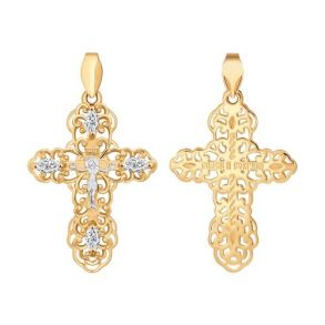 Крест из золота с фианитами 121275 SOKOLOV