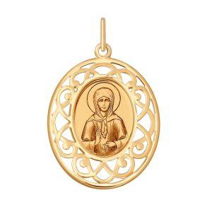 Золотая иконка с ликом Святой блаженной Матроны Московской 104126 SOKOLOV