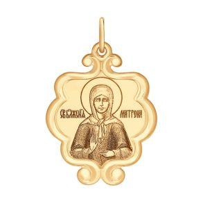 Иконка из золота «Святая Блаженная Матрона Московская» 104122 SOKOLOV
