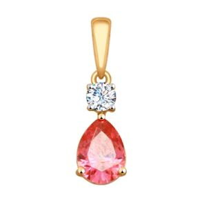Подвеска из золота с бесцветным и розовым Swarovski Zirconia 030094 SOKOLOV