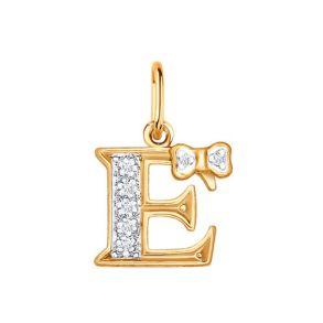 Золотая подвеска-буква «Е» 030654 SOKOLOV