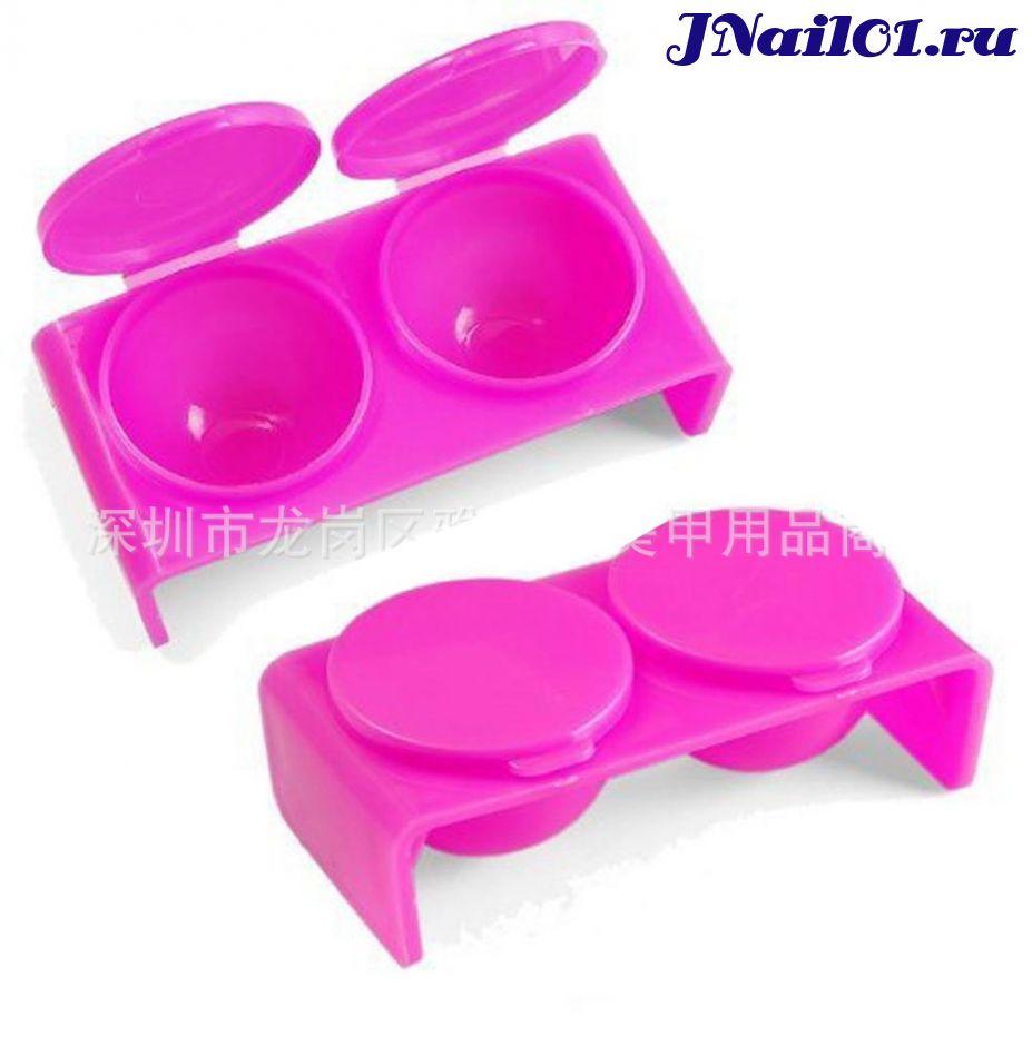 Две ёмкости с крышкой, цвет розовый