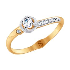 Кольцо из золота с фианитами 017968 SOKOLOV