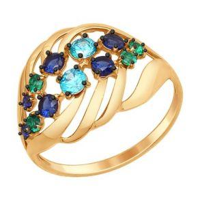 Кольцо из золота с зелеными и синими фианитами 017317 SOKOLOV