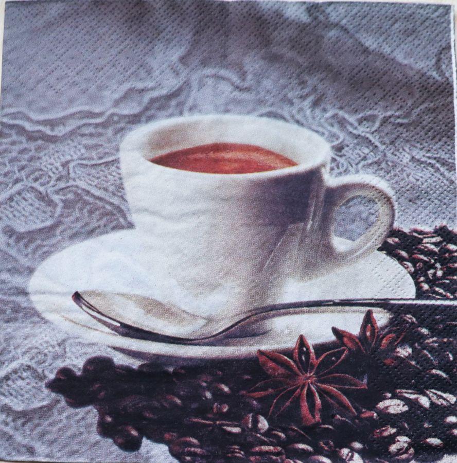 Салфетка бумажная 30*30 Кофе с бадьяном