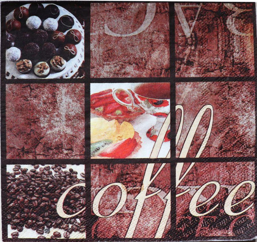 Салфетка бумажная 30*30 Кофе с конфетками