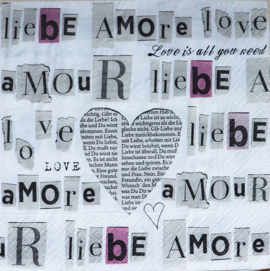 Салфетка бумажная 30*30 Язык любви