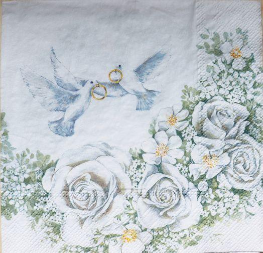 Салфетка бумажная 30*30 Свадебные голубки
