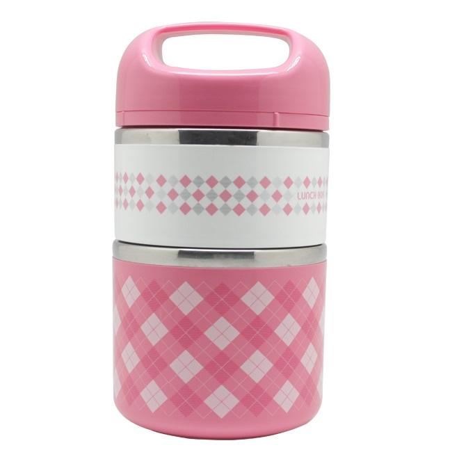 Термо Ланч-Бокс В Виде Термоса С Двумя Отсеками Lunch Box, 950 Мл, Цвет Розовый