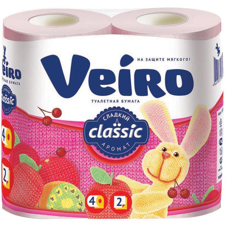 Туалетная бумага Linia Veiro 2-х слойная 4шт Розовая а3393