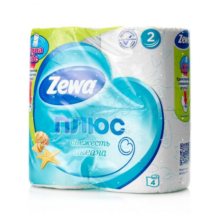 Туалетная бумага Зева Плюс 2х слойная 4шт свежесть океана