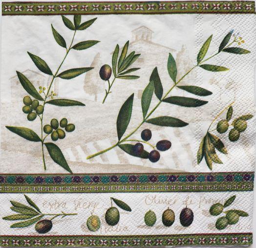 Салфетка бумажная 30*30 Оливки и маслины