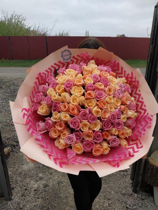 101 роза Разноцветная радуга