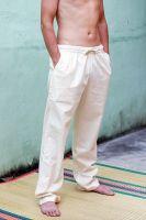 Прямые мужские штаны из органического хлопка. Возможен индивидуальный пошив на нестандартные размеры. Цвет неокрашенный белый (слоновая кость)