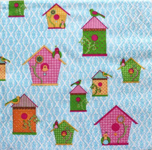 Салфетка бумажная 30*30 Скворечники на голубом