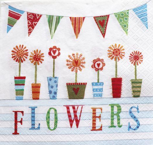 Салфетка бумажная 30*30 Flowers