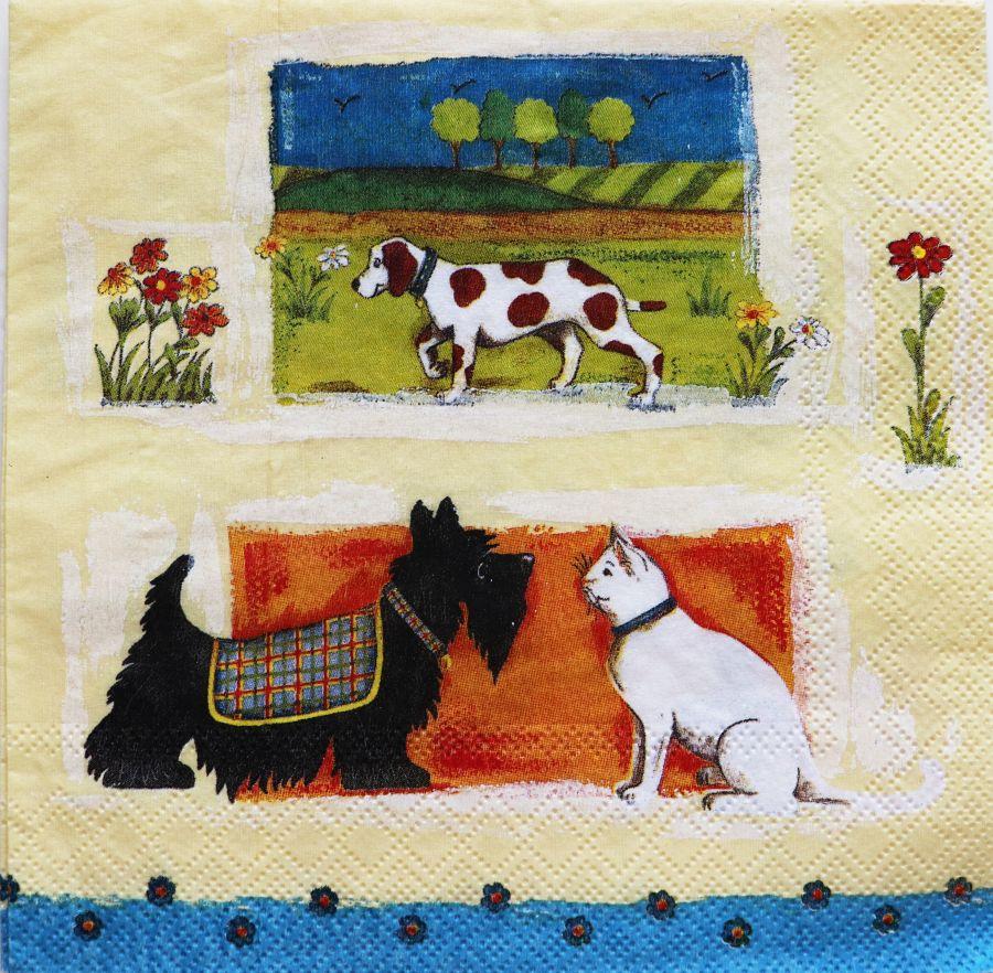 Салфетка бумажная 30*30 Собачки и кот