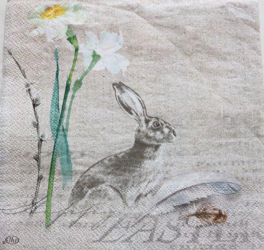 Салфетка бумажная 30*30 Пасхальный кролик и нарциссы