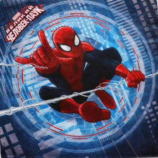 Салфетка бумажная 30*30 Человек паук