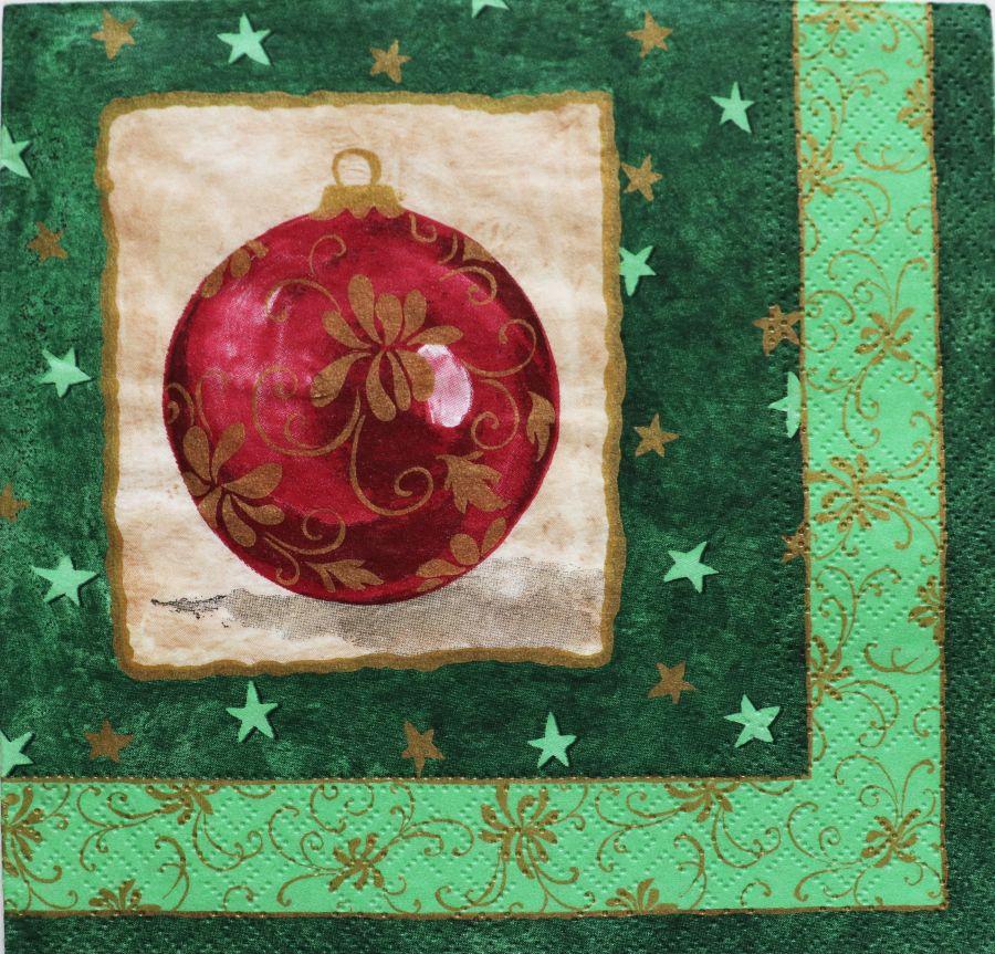 Салфетка бумажная 30*30 Новогодний шар