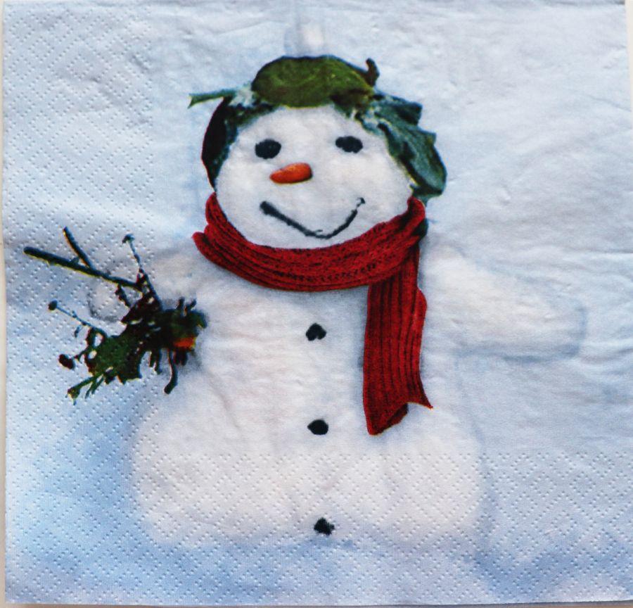 Салфетка бумажная 30*30 Снеговик