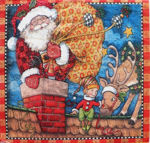 Салфетка бумажная 30*30 Санта на крыше
