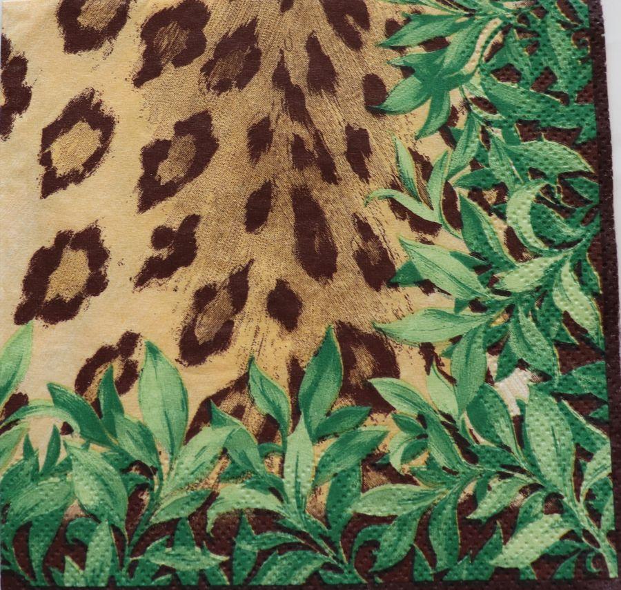 Салфетка бумажная 25*25 Леопардовый принт
