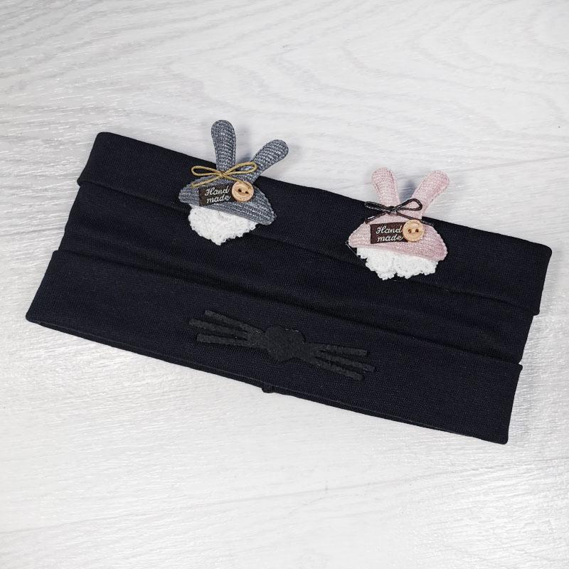 п1048-74 Повязка трикотажная с отворотами Зайки бархатные усики сине-черная