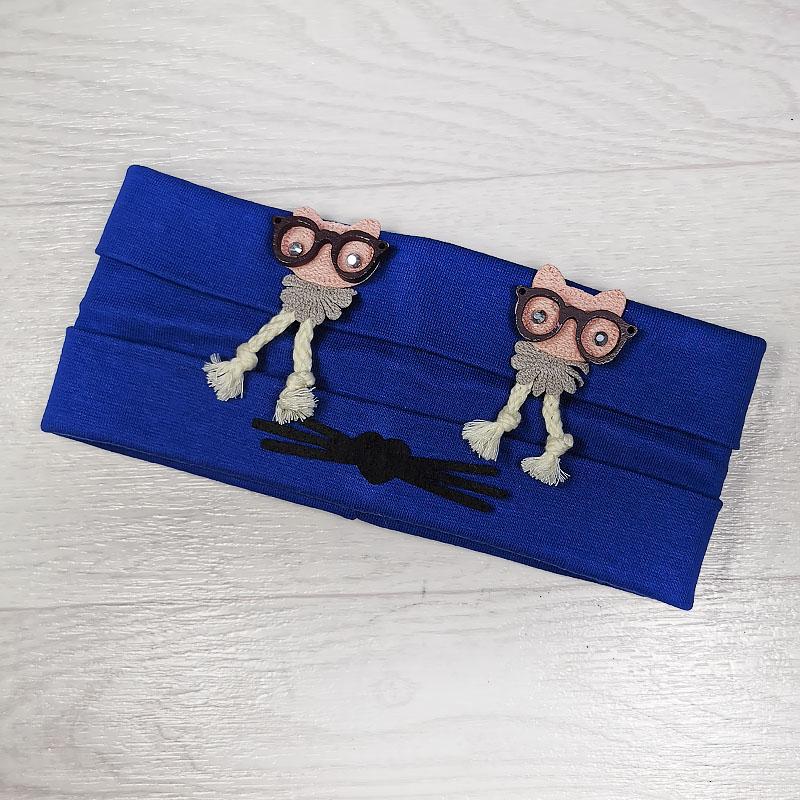 п1049-53 Повязка трикотажная с отворотами Совы в очках бархатные усики синяя