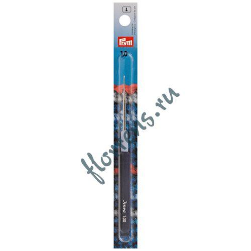 Крючок для тонкой пряжи с пластиковой ручкой и колпачком, сталь, 1,0 мм, Prym