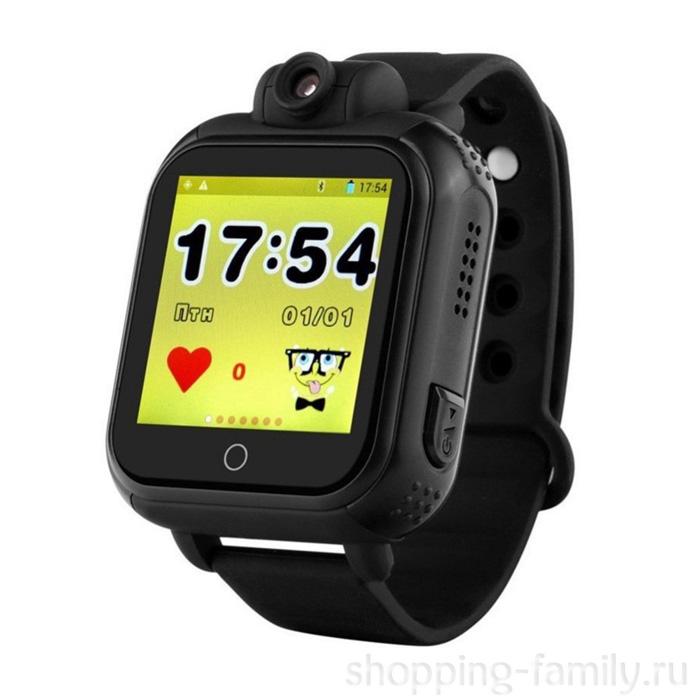 Умные детские GPS часы Smart Baby Watch Q75 GW1000 , Цвет Чёрный