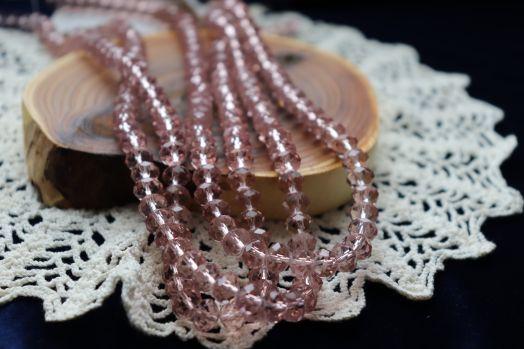 Бусины стеклянные, граненый рондель, нитка 50 см, цвет 313, Светло-аметистовые