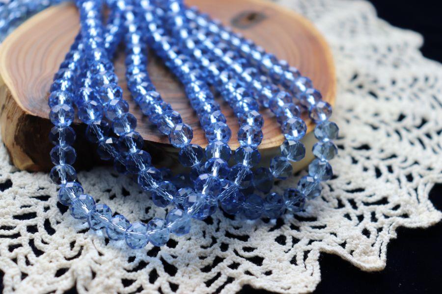 Бусины стеклянные, граненый рондель, цвет 305, Светло-синий, 8*6 мм, нитка 43 см