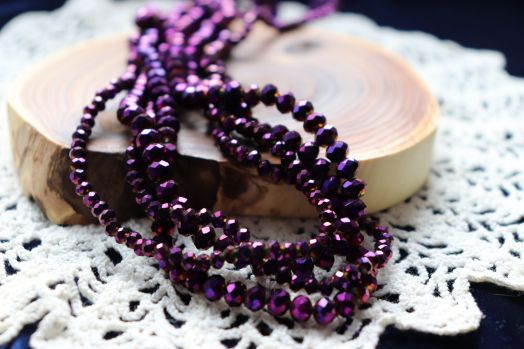 Бусины стеклянные, граненый рондель, нитка 50 см, цвет 612, Фиолетовый металлик