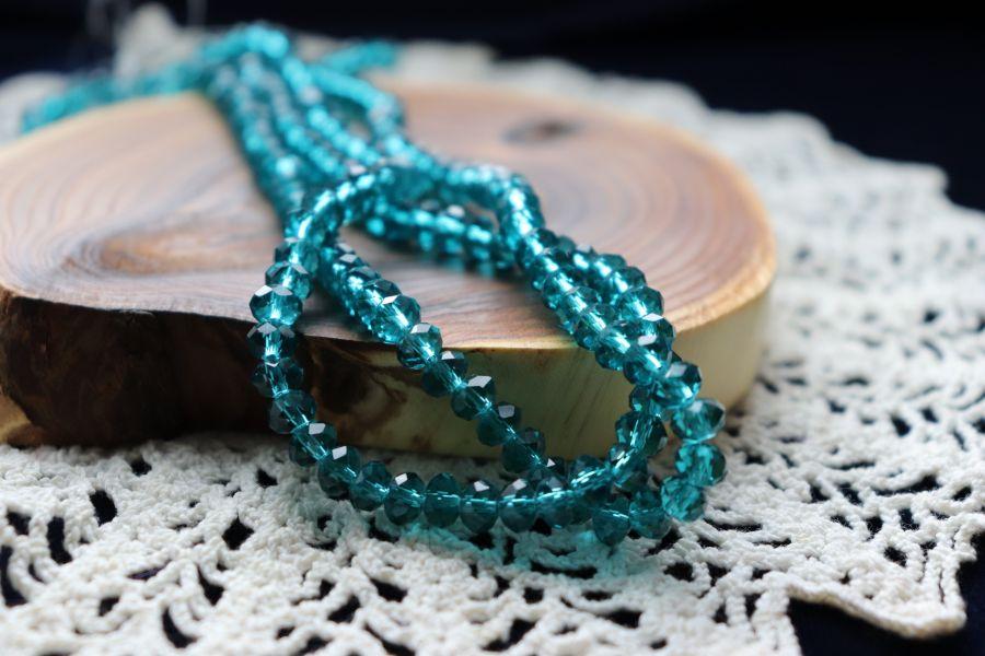 Бусины стеклянные, граненый рондель, нитка 50 см, цвет 351, Морская волна