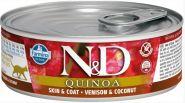 Farmina N&D Quinoa Консервы для кошек с киноа, оленина и кокос 80 гр