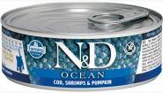 Farmina N&D Cat Ocean Консервы для котят, треска, креветки и тыква 80 гр