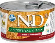 Farmina N&D Ancestral Grain Консервы низкозерновые для собак мелких пород, курица с гранатом 140г
