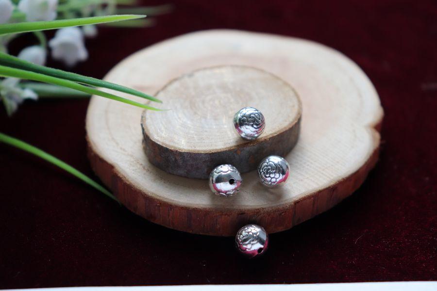Металлические бусины, Круглая Цветок, 4 шт/упак