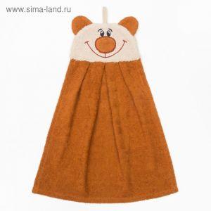 """Полотенце-рушник махровый """"Медведь"""", 43?35 см, коричневый, хл100%, 300 г/м?"""