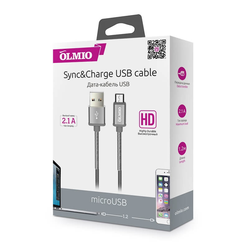 Кабель microUSB - USB 2.0 OLMIO HD для мобильной техники, 1.2м, 2.1A Серый