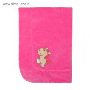 Плед утепленный с вышивкой, размер 90*90 см, цвет розовый 20-3В-В   1737415