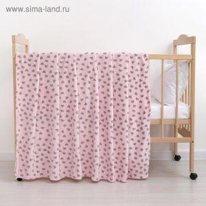 Плед «Сердечки» цвет розовый 130?160 см, пл. 230 г/м?, 100% п/э