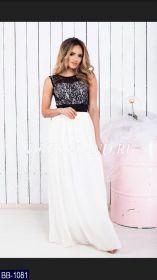 Белое платье в пол с гипюровым лифом