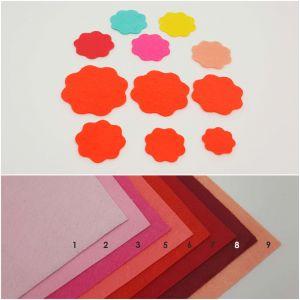 """Фетровые пяточки круглые """"волна"""" 45мм, цвет № 02 розовый (1уп = 108шт)"""